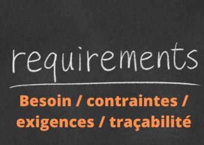 Complétude des exigences, liens entre besoin – contraintes – exigences, traçabilité