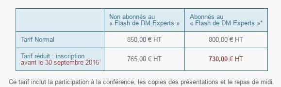 tarif conférence dm experts réglements sur les DM 2016