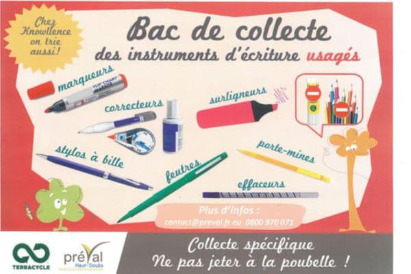Récupération stylos pour recyclage Preval