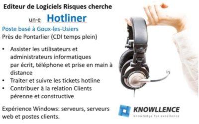 #Emploi : Offre Hotliner Editeur de logiciels (H/F) CDI, près Pontarlier