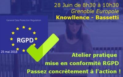 """Petit-déjeuner """"RGPD en pratique"""" à Grenoble le 28 juin 2018 matin"""