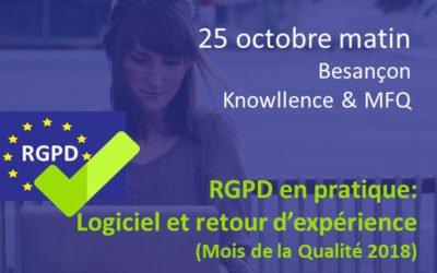 Besançon : atelier RGPD en pratique 25 oct. (Mois de la Qualité)